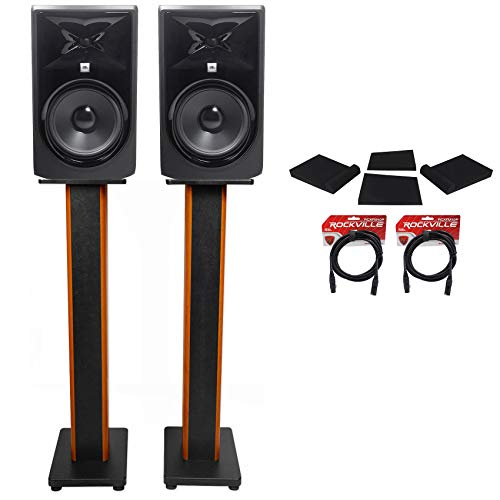 (2) JBL 308P MkII 8' Studio Monitors+36' Stands+Isolation Pads+XLR Cables