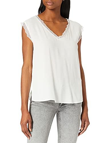 Only Onljasmina S/S Lace Top FR Wvn Camiseta sin Mangas, Cloud Dancer, L para Mujer
