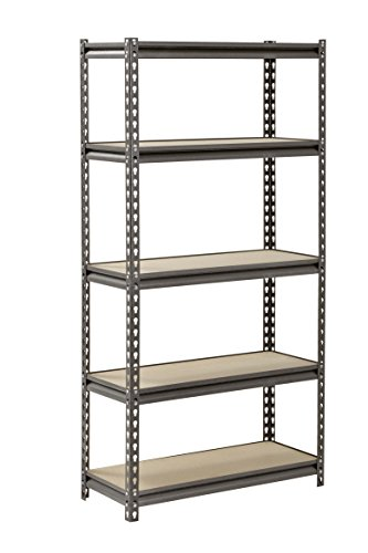 Muscle Rack UR301260PB5P-SV Silver Vein Steel Storage Rack 5 Adjustable Shelves 4000 lb Capacity 60 Height x 30 Width x 12 Depth