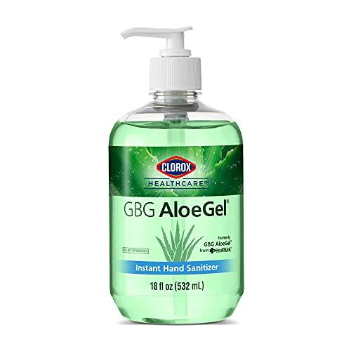 Clorox Healthcare GBG AloeGel Hand Sanitizer Gel 18oz (532ml)   Clorox Hand Sanitizer Gel   Bleach Free Instant Hand Sanitizer Gel with Pump Sanitizer Dispenser