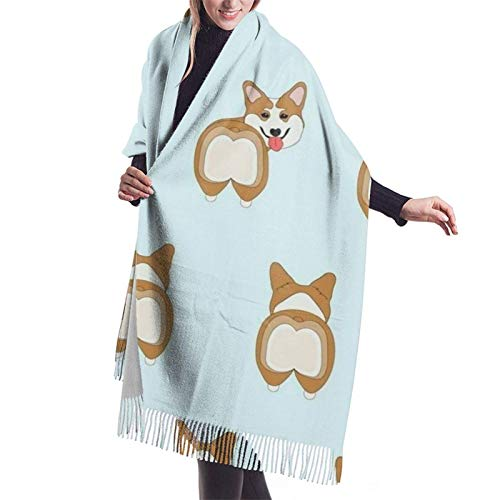 Manta de cachemira cálida grande para mujer, bufanda con borlas, chal divertido de corgis a tope, abrigo