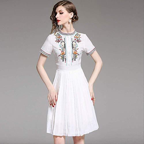 Vrouwen Elegante Bloem Borduren Witte Geplooide Jurk Vrouwelijke Hoge Taille O-Hals Korte Mouw Doorzichtige Chiffon Jurk