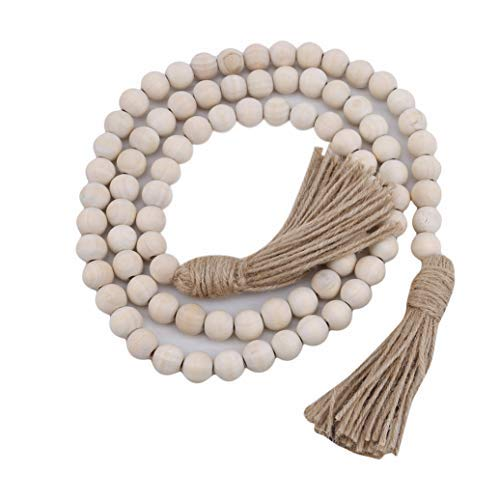 Toporchid Rustic Natural Wood Bead Garland with Tassels Farmhouse Beads Rustic Country Decor for Wedding Party