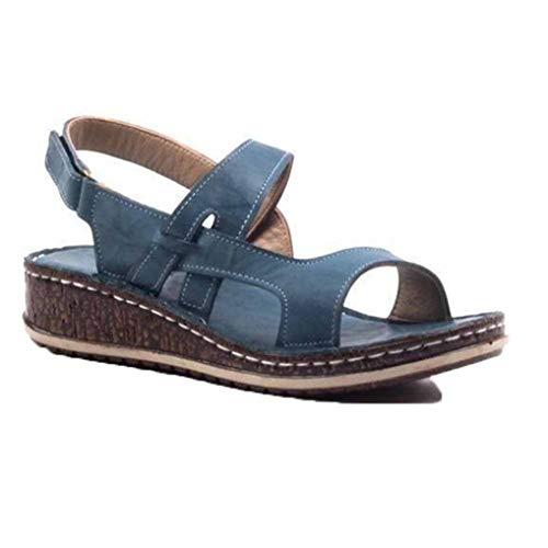 Sandalias De Costura para Mujer Zapatos Casuales De Punta Abierta De Verano...