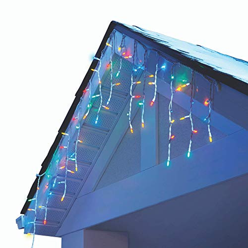 NOMA LED Christmas Icicle String Lights | 70 Mini Multi-Color Bulbs | Indoor & Outdoor | 6.5 Ft. White Wire Strand