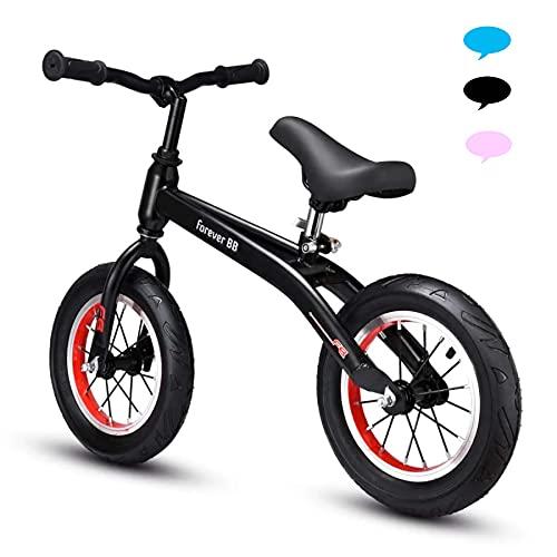 Bueuwe Niño Bicicleta 12 Pulgadas para Niños de Bicicleta Sin Pedales para,SillíN Regulable Bicicleta Equilibrio,Adecuado para niños y niñas de 2 a 6 años regalo de cumpleaños,Carga máxima 50 kg,Negro