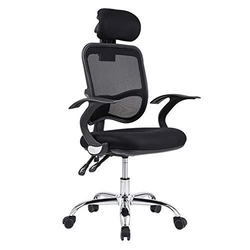 HMBB Sillas de escritorio, sillas de escritorio para el hogar, oficina, silla giratoria, silla ergonómica, respaldo alto, silla de oficina, silla de oficina con reposacabezas ajustable (color negro)