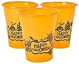 Halloween Orange Happy Halloween Plastic Party Reusable Cups - Bulk Pack of 50, 6', 8oz. Cups by Neliblu