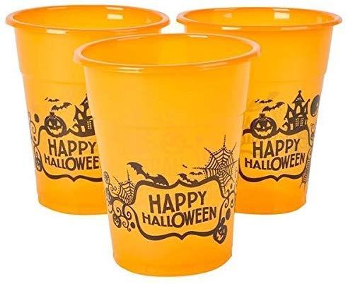 Halloween Orange Happy Halloween Plastic Party Reusable Cups - Bulk Pack of 50, 6, 8oz. Cups by Neliblu
