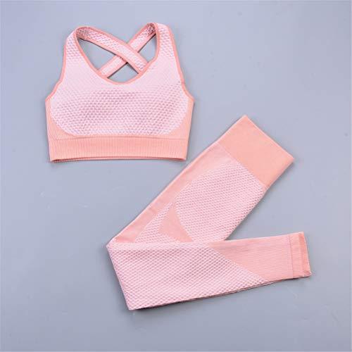 Hbao 2 Stück der Frauen Nahtlose Yogaklage Sport-BH und Leggings Joggen Fitness Anzug sexy Frau Workout Kleidung Strumpfhosen Fitness Sportanzug (Color : A, Size : Small)