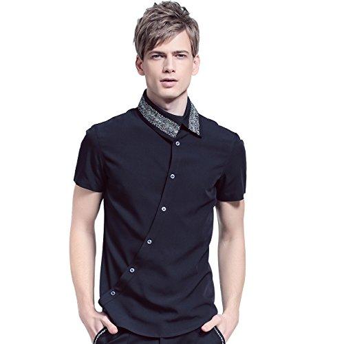 FANZHUAN Fashion Shirt Mens Short Sleeve Black Slim Fit Shirt Style Button Down
