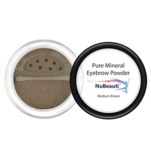 Mineral Eyebrow Powder by NuBeauti - Natural Brow Makeup Kit with Angled Contour Brush for Precision Sculpting to Color Eyebrows Precisely for Beautiful Perfect Brows (With Brush, Medium Brown)