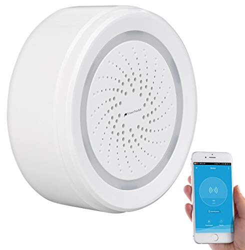 VisorTech WiFi Sirene: WLAN-Alarm-Sirene mit App, kompatibel mit Alexa, Siri & Google Assistant (Sirene Elesion)