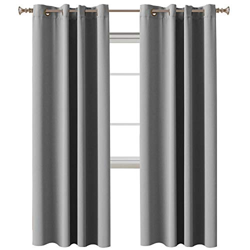 """Bedroom Blackout Curtains Panels Noise Reducing Thermal Insulated Solid Ring Top Blackout Window Curtains/Drapes, Energy Saving Nursery Curtains, Dove Gray, 2 Panel, 52"""" W x 84"""" L"""