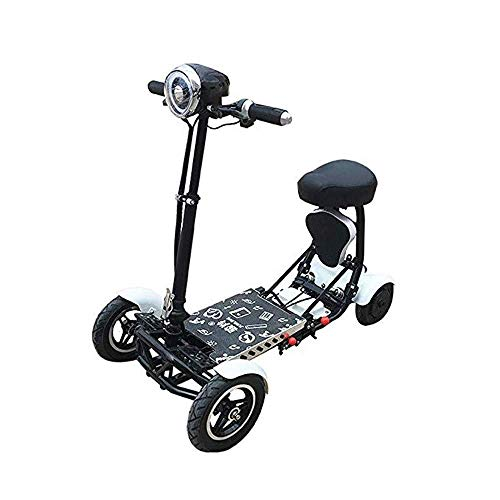 TTWUJIN Silla de Ruedas Ligera, Motor de Litio Eléctrico Compacto con Servicio de Litio Eléctrico Ligero, Mini Plegable Mini Eléctrico Cuatro Ruedas Discapacitado Bicicleta de Edad Avanzada As