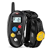 Patpet Dog Training Collar IPX7 Waterproof, Fast rechargeable Shock Collar for Dogs with 1000FT Long Remote Range, 3 Modes Beep/Vibration/Shock e-Collar for Small Medium Large Dog(AC Adapter Included)