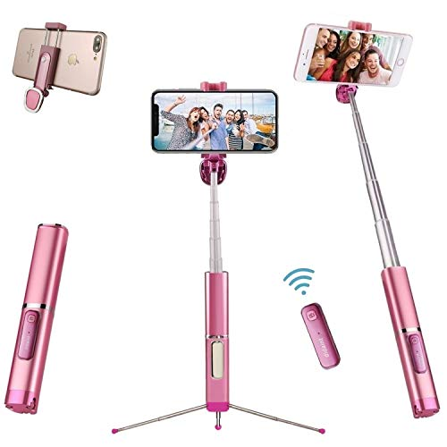 Selfie Stick Tripod Bluetooth, didaINT Mini Extendable Aluminum Selfie Stick with Wireless Remote and Tripod Stand 360 Rotation for iPhone 12/SE 2/11 Pro/XS/XR/X/8/7, Samsung and Android Phone (Pink)