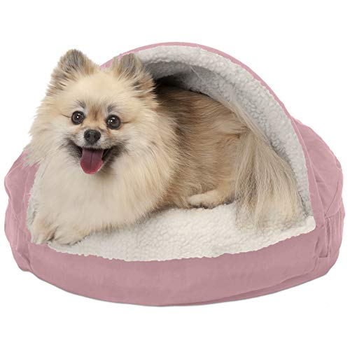 Furhaven Pet Dog Bed | Orthopedic Round Cuddle Nest Faux Sheepskin Snuggery Blanket Burrow Pet Bed w/ Removable Cover for Dogs & Cats, Pink, 18-Inch