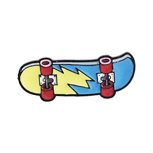 Zonfer Cartoon Skateboard Broschen Blitz-Skating Emaille Pin kühler Unisex-Jacken-Abzeichen Schmuck Trinkets Blau