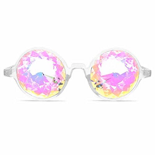 GloFX Herren Kaleidoskop Gläser - Regenbogen-Kristall-Linsen - fraktale Prisma - Rave, festival, edm, Lichtshow eine Grösse passt allen klar