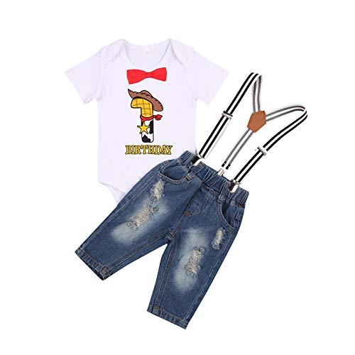 YQYJA Traje de primer cumpleaños niño de una o dos letras de impresión arco de manga corta mameluco cinturón de mezclilla pantalones largos