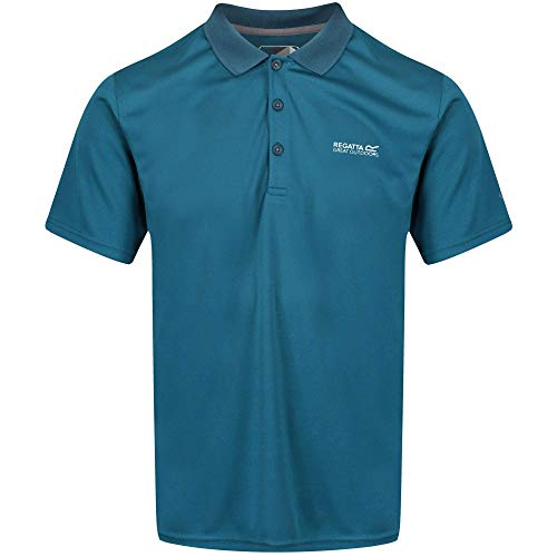 Regatta Maverick Iv Herren-Poloshirt, schnelltrocknend, Knopfleiste, langärmelig S ozeanblau