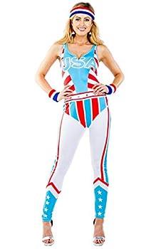 Women s 90 s Patriotic Gladiator Bodysuit - Warrior Halloween Costume  XL