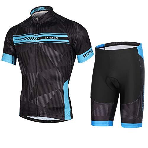 SKYSPER Maillot Ciclismo Hombres Jersey Mangas Cortas Pantalones Cortos Culotte de Ciclismo Conjunto de Ropa Maillot Entretiempo Invierno para Deportes al Aire Libre Ciclo Bicicleta