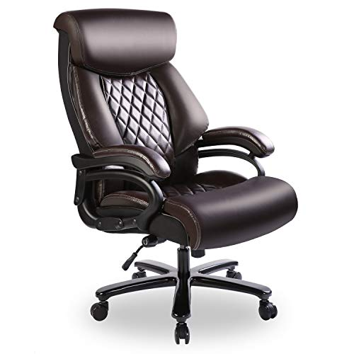 Bowthy Big and Tall Office Chair 400lbs Heavy Duty Ergonomic Computer Desk Chair with Arms High Back Adjustable Lumbar Support 360 Swivel Task Chair Executive Leather Chair (Brown)