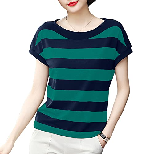 Camiseta de Rayas de Madre de Mediana Edad Camiseta de algodón de Media Manga de Verano de Hermana Gorda de Rayas de Manga Corta Femenina