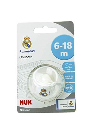 NUK Genius, Chupete del Real Madrid para Bebé de Silicona con Tetina Anatómica en Forma de Pezón Materno. Producto Oficial. Color Blanco. 6 a 18 mesess