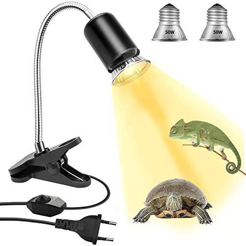 Schildkröte Wärmelampe Reptilien Heizlampe, E27 UVA/UVB Wärmespotlampe 50W+50W Terrarium Waermelampe mit Clip für Reptilien Eidechsen schildkröten Schlangen Chamäleon Amphibien usw