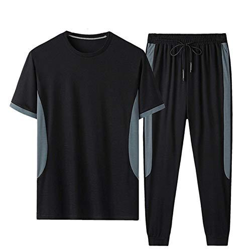 Geagodelia Tuta Uomo Casual 2 Pezzi T-Shirt + Pantaloni Tuta Estiva Maniche Corte Girocollo Set Completo Sportivo Maglietta S-3XL Jogging Corso Palestra (Nero, 3X-Large)