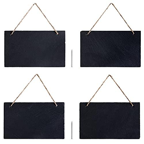 Navaris Set 4 Lavagna in Ardesia con Nastro 25x15cm - Lavagnette Scrivibili da Appendere - Mini Lavagne Decorative - 2 Gessi Matita - Nera Orizzontale