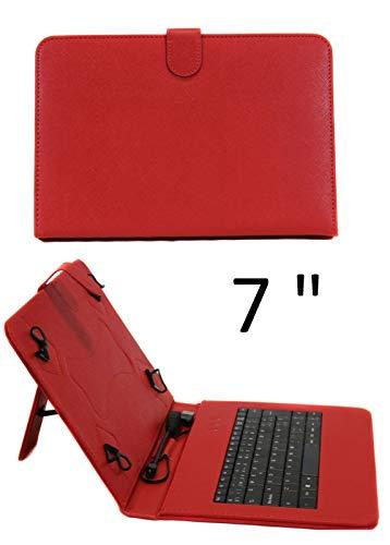 SUNING Funda con Teclado Tablet 7' Universal Teclado español Ñ Piel Sintética Roja