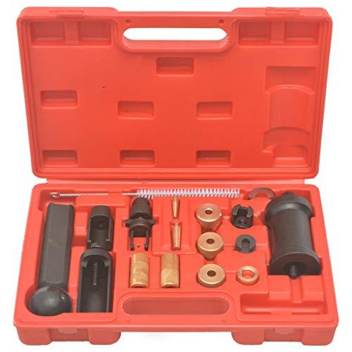 vidaXL Injektoren Werkzeug Satz 18-tlg. Einbauen Ausbauen Injektor Abzieher Satz Diesel Einspritzdüsen Werkzeug Kfz-Werkzeug Stahl