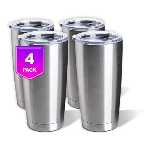 Stainless Steel Tumblers Bulk 4-Pack 20oz Double Wall Vacuum Insulated by Pixiss   Bulk Cup Coffee...