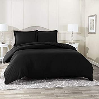 Nestl Duvet Cover 3 Piece Set – Ultra Soft Double Brushed Microfiber Hotel-Quality – Comforter Cover with Button Closure and 2 Pillow Shams Black - King 90 x104