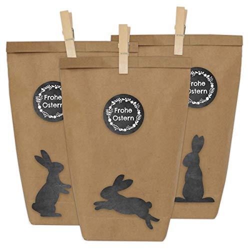Papierdrachen 12 DIY Geschenktüten zu Ostern zum Basteln - Kreatives Osternest mit 12 Papiertüten und Osterhasen Aufklebern - Design 1