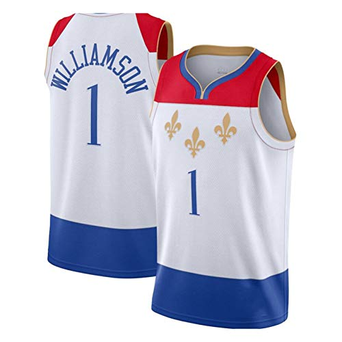 Jersey para Hombre, New Orleans Pelicans # 1 Zion Williamson Baloncesto Uniforme Malla Baloncesto Swing Jersey Uso Diario Y Torneo De Baloncesto White-M