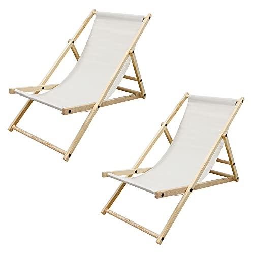 ECD Germany 2X Silla de Playa Madera de Pino 3 Posiciones de...