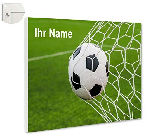 b-wie-bilder Magnettafel Pinnwand personalisiert mit Wunschmotiv und Namen - Sofort Vorschau- Größe 60 x 40 cm, Farbe Fussball