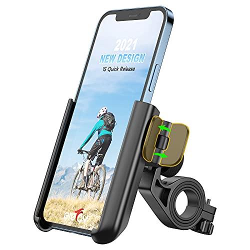 Grefay Soporte de teléfono móvil para bicicleta, universal, desmontaje rápido, para bicicleta de carretera, MTB, scooter, con giro de 360 grados, para smartphone de 3,5 a 7,0 pulgadas