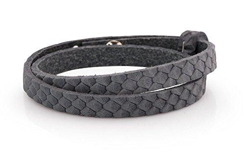 Lederarmband - grau Reptilmuster, 43cm, Schmuck-Armband für Schiebeperlen - verstellbar, ideal für Freundschaftsarmbänder und Partnerarmband, Mode-Schmuck