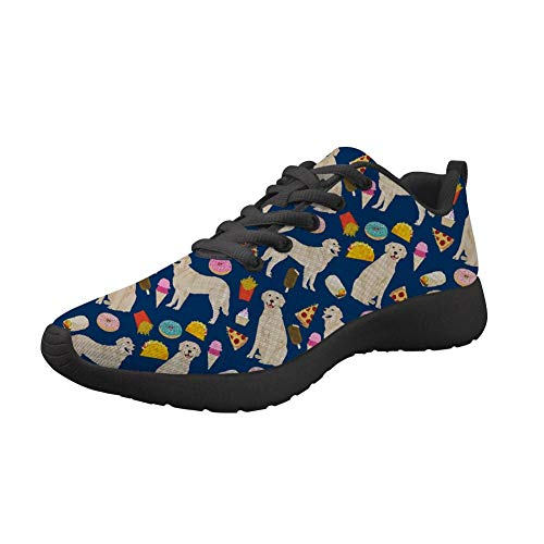 Nopersonality Golden Retriever Print Women Running Shoes Lightweight Breathable Mesh Athletic Sneakers Casual Walking Jogger Tennis Sport Trainer Flats Lace Up 41
