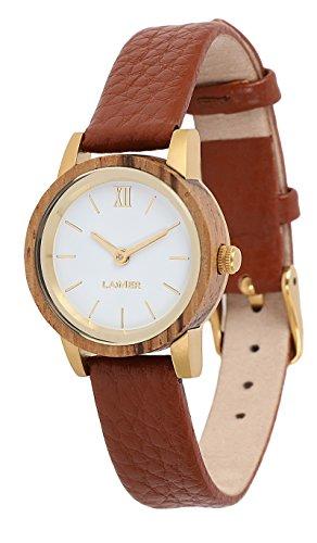 LAiMER Damen-Armbanduhr FELICIA Mod. 0091 aus Zebranoholz - Analoge Quarz-Uhr mit Lederarmband