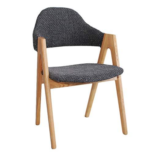 Dining chair Silla de escritorio robusta, simple, respaldo creativo, silla de ocio, establo para adultos en el hogar (color gris oscuro-A)