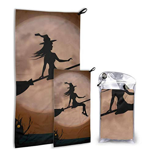 N\A Witch Ugly Scary Horrible Dark Full Moon 2 Pack Microfiber Boy Beach Towel Folding Beach Towel Set Fast Drying Best for Gym Travel Backpacking Yoga Fitnes