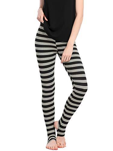 Allegra K Women's Leggings High Waist Elastic Waistband Yoga Stirrup Pants Small Black Grey