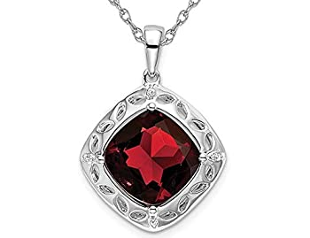 Gem And Harmony 4.25 Carat  ctw  Large Natural Garnet Dangling Pendant Necklace in Sterling Silver with Chain